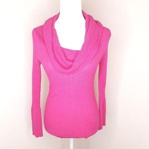 Cowl Neck Pink Ribbed Long Sleeve Shirt Top Cute